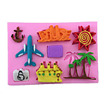Aircraft  Coconut Trees Cartoon Pattern  Candy Fondant Cake Molds  For The Kitchen Baking Molds
