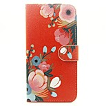 Red Flower Pattern PU Leather Full Body Case with Stand and Card Slot for iPhone 6s Plus 6 Plus 6s 6 SE 5s 5