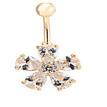 Lady's Stainless Steel Zircon Navel Belly Button Ring Dancing Body Jewelry Piercing Body Jewelry(1PC)
