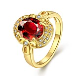 2016 New 18K Gold Plated Noble Luxury Wedding Red Zircon Women Party Ring