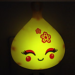 Creative Warm White Smiling Face Light Sensor Relating to Baby Sleep Night Light(Random Color)