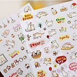 1PC Cute Style Cats Cartoon Animals Sticker PVC Cartoon Diary Stickers Scrapbook Decoration Stationery(Style random)