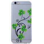 flor verde TPU luminosa caso telefone macio translúcida para iPhone 6 / 6s