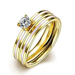 New Individual  White Stripe White Zircon Gold-Plated Titanium Steel Statement Rings(Golden)(1Set)