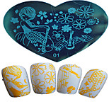 1pcs Nail Art Heart-shaped Stamping Template  Girl Lovely Aminal  Music Note Kinds Of Image Design Nail Art Tools 01-05