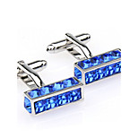 Toonykelly® Fashion Copper Silver Square CZ Crystal Button Cufflinks(1 Pair)