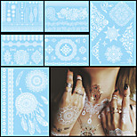 6PCS Waterproof Tattoo Temporary White for Women Body Neck Art Flower Letter Jewelry Paste Tattoo Henna Sticker Wedding