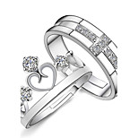 2pcs Sterling Silver Ring Crown CZ Couple Rings Adjustable Fashion Jewelry for Couple Wedding Engagement Ring