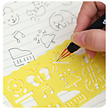 4PCS Creative candy color drawing ruler Speed sketchpad art ruler drawing template(Style random)