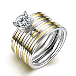 2016 Luxury Zircon Double Stripe Titanium Steel Wedding Couple Ring