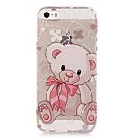 patrón de color transparente oso de peluche caso de TPU caja del teléfono suave para el iphone 5 / 5s / SE