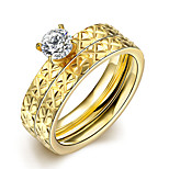 2016 Luxury Gold Zircon Jacquard Titanium Steel Romantic Wedding Couple Ring