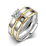 New Individual Irregular White Zircon Gold-Plated Titanium Steel Set Rings(Gold-Silver)(1Set)