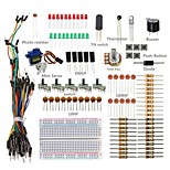 Basic Starter Kit w/ Breadboard, Jumper wires, Color Led, Resistors, Buzzer For Arduino UNO R3 Mega2560 Mega328 Nano