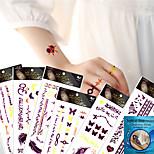 6 Pcs Fluorescence Nontoxic Temporary Waterproof Purple Metallic  Tattoo Paste Stickers