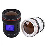 Camera Lens Shape Alarm Clock Music Calendar Snooze Projection with Backlight Novelty