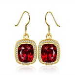 2016 Nobe Fine Gold Plated Red Sapphire Luxury Party CZ Drop Earrings For Women