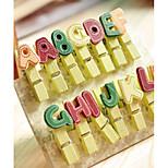 14PCS Diy Color Cute Cartoon Mini Small Letter Alphabet Wood Paper Photo Clips With(Style random)