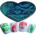 1pcs Nail Art Heart-shaped Stamping Template  Butterfly Beautiful Rose Girl Halloween  Image Design Nail Art Tools 21-25