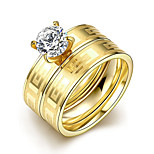 2016 Luxury Gold Zircon Great Wall Titanium Steel Romantic Wedding Couple Ring