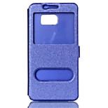 caja frontal vista de la ventana del tirón de cuero elegante de lujo de la cubierta del caso del coque Nota4 / Note5 Samsung Galaxy