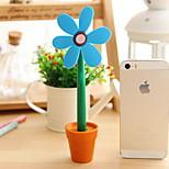 Flowerpot Sunflower Design Blue Ink Ballpoint Pen(1 PCS Random Color)