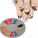 1pcs  New White Round Bowl Plastic Semicircle Shape Colorful Nail Art Flat Jewelry Nail Art Decoration  SLBY1