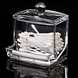 New Design Clear Acrylic Cotton Swab Box Q-tip Storage Holder Cosmetic Makeup tool Women Storage Box With Lid