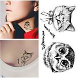 RC-Tatuajes Adhesivos-Waterproof-Series de Animal-Mujer / Hombre / Adulto-Negro-PVC-1pcs-10.5*6cm-owl