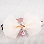 Cat / Dog Collars Adjustable/Retractable / Cute and Cuddly / With Bell / Bowknot Beige Textile