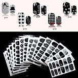 6PCS QJ-Q179-194 Full Nail Stickers 16 Different Black Designs ,12 Decals/PCS(Pack of 6 Random Sheets)