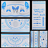 5pcs Blue Silver Butterfly Chain Necklaces Bracelet Temporary Flash Metallic Tattoos Sticker Waterproof