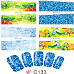 1pcs  Nail Art Water Transfer Stickers Geometry Image Abstractive Tree Boat Street Image C132-139