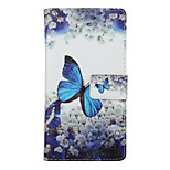 Blue Butterfly Pattern PU Leather Full Body Cover with Stand for Huawei Ascend P9