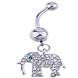 Cremation jewelry Zircon / Silver Plated Elephant Navel & Bell Button Rings Party / Casual