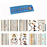 10Pcs Popular Gold Silver  Women  Metallic Tattoo  Chain Bracelet Waterproof Temporary Tattoo +8Pcs Cleansing Wipes