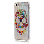 cepillado de lujo TPU flores cráneo patrón de la cáscara del teléfono de perforación resistencia de la gota para el iphone SE / 5 / 5s