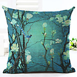 Novelty Floral Pattern Linen Pillowcase Sofa Home Decor Cushion Cover (18*18inch)