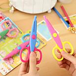 1PC Laciness Scissors Metal and Plastic DIY Scrapbooking Photo Colors Scissors Paper Lace Diary Decoration(Style random)