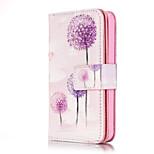 cuero de la PU realzó la caja de la cartera de diente de león púrpura con 9 ranuras de tarjeta para el iPhone 5s 5 sE