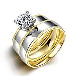 original weißen Zirkon exquisite unisex vergoldet Titan Stahl Paar Ringe (goldene) (1set)