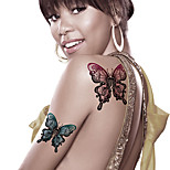 Fashion Large Temporary Tattoos Butterfly Sexy Body Art Waterproof Tattoo Stickers 2PCS  (Size: 5.71'' by 8.27'')