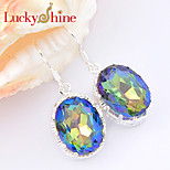 Shiny Forward Classic Oval Fire Mystic Topaz Gem 925 Silver Drop Earrings For Wedding Party Daily Holiday 1Pairs