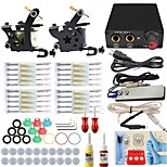 Professional Complete 2  Tattoo Machine Kit 2PCS Ink Power Supply Needle Grips Tips