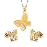 Women's Butterfly Style 18K Gold Plated Necklace Earrings Jewelry Set