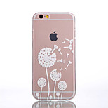 TPU White Dandelion Pattern Transparent Back Case for iPhone 6s 6 Plus
