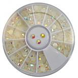 1pcs 4mm Round Bowl Nail Art Cream-colored Flat Rhinestones Nail Art DIY Decoration NC307