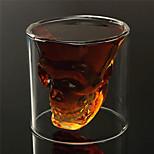 varmebestandig dobbelt væg gennemsigtig kreativ skræmmende kranium hoved nyhed drinkware whiskey vin vodka shot glas kop
