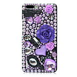 Rhinestone Hard Back Cover for Huawei Honor 6Plus(black - Purple Rose)