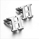 Men's Fashion Letter H Silver Alloy French Shirt Cufflinks (1-Pair)